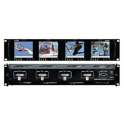 Image de V-R44P-DVI Four  HD 3.5' LCD Screen Rack Mount Panel with DVI, VGA